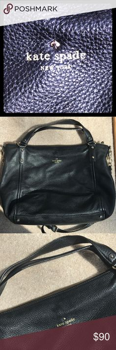 Authentic Kate spade handbag Authentic black leather Kate spade crossbody. Super soft leather. Some wear on hand handles (see pictures). Great condition. Great to use with kids because it keeps your hands free and zip closure makes sure nothing comes out when you bend over...and it's holds a ton! Signature striped inside lining with one zip pocket. kate spade Bags Crossbody Bags