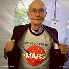 Apollo 11 Astronaut Mike Collins shows off his #GYATM shirt! All proceeds from shirt sales go to the nonprofit ShareSpace.org