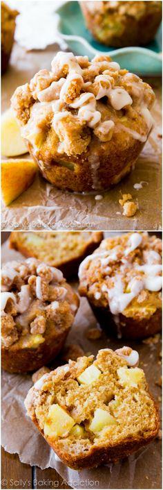 Big, buttery cinnamon apple muffins with a brown sugar crumb topping and sweet vanilla glaze. Better than a bakery! @sallybakeblog