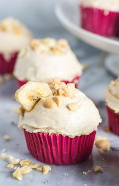 Banana cupcakes with peanut butter frosting are a fun take on the classic peanut-butter-and-banana combo.