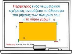 Περίμετρος ενός γεωμετρικούσχήματος ονομάζεται το άθροισματου μήκους των πλευρών του( το γύρω γύρω) 106106Περίμετρο... Charts, Ios, Graphics, Graph Of A Function
