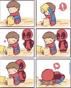 Deadpool <3 Spiderman AWWW Deadpool , thats not how you hug da spidey >3…