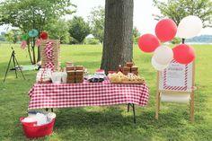 festa de picnic com photobooth
