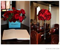 """Red & Turquoise wedding? Cute how the floral arrangement on the guestbook table is a Tiffany & Co. style bag but instead says """"Picard & Co."""" with red flowers placed inside."""