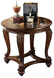 Ashley Furniture Signature Design Norcastle End Table Traditional Vintage Style Round Dark Brown Kitchen Dining