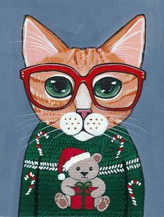 CAT in Ugly Christmas Sweater by KilkennycatArt