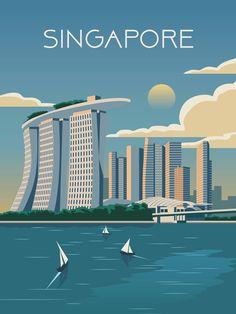Singapore Travel poster Vintage print retro wall art city map skyline yoga minimalism