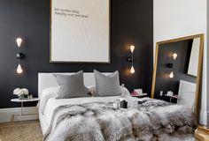 Мебель и предметы интерьера в цветах: черный, серый, светло-серый, белый, бежевый. Мебель и предметы интерьера в стиле арт-деко.
