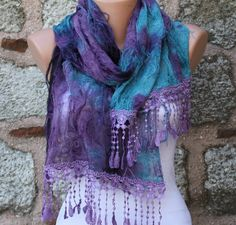 Purple Blue Scarf  Headband Necklace Cowl with Lace by fatwoman, $19.90