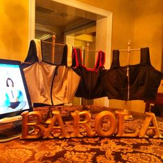 Found jewelry stands perfect for bra display.  DIY with gold spray paint. #barolainc