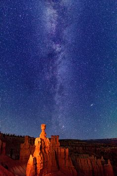 Milky Way stars over Thor's Hammer, Bryce Canyon, Utah.