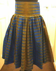 Blue Vlisco african print midi skirt - pinned by pin4etsy.com