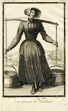 Pieter van den Berge   Waterlandse melkmeid, Pieter van den Berge, in or after 1694 - 1737   Een melkmeid uit Waterland draagt een juk met twee emmers melk. Prent uit een serie van 6 prenten met dorpelingen die klederdrachten dragen.