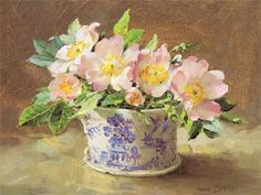 'Wild Roses in a Willow Pattern Jug' - by Anne Cotterill