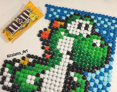 Candy Mosaic - Drawing Yoshi with M&M Candy Chocolate by Kitslam Legend Of Zelda, Art Attack Ideas, Yoshi Drawing, Food Art Painting, Mosaic Art Projects, Nintendo, Pixel Art Templates, Pixel Art Games, Candy Art