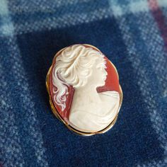 Vintage Retro Cameo Brooch Oval Coral Colour Costume Jewellery by UpStagedVintage on Etsy