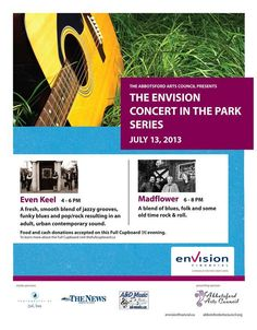 Envision Concert in the Park Series DOUBLE CONCERT featuring Even Keel AND Madflower! Catch 4 hours of great music performed by local musicians! #Abbotsford