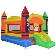 Mini Crayon Bounce House Slide Jump Bouncer Inflatable with Blower