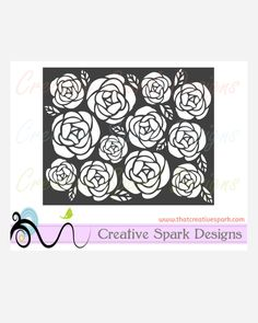 Rose Cutout Background SVG Image digital download for die cutting machines, graphic arts, cards, vinyl, scrapbooks, decor, stencil by CreativeSparkDesigns on Etsy