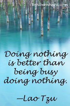 """Doing nothing is better than being busy doing nothing."" —Lao Tzu"