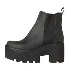 Alien (39.920 HUF) ❤ liked on Polyvore featuring shoes, boots, ankle booties, black, zapatos, leather booties, black leather boots, leather boots, slip on leather boots и pull on boots