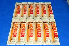 (12) Bic ROLLER Pen Fine Point Capped - Yellow Pen - Red Ink - New Old Stock #Bic