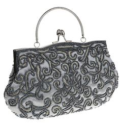 Bywen Womens Vintage Beaded Purse Party Clutch Shoulder Bags Grey. Vintage beaded evening bags. Hand made clutch. L: 11inch/28cm, H: 9.8inch/25cm. Ideal for holding essentials like keys, mirror and lipstick. Occasion: Bridal / Prom / Evening Bag.