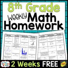 Eighth Grade Math Homework FREE