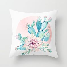 Green blue turquoise cacti plants plant blue pastel watercolor painted frond fronds with pink desert rose gold sun circle botanical floral simple clean white paper linen mod minimalist foliage Southwestern southwest foliage vintage boho bohemian