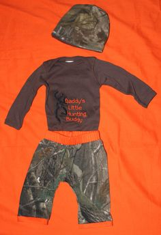 Camo Pants with Matching Onesie and Beanie. $40.00, via Etsy.