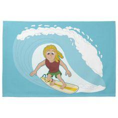 Surfing guy cartoon kitchen towel