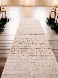 Vows written on aisle runner at Romantic Lancaster Wedding at Excelsior with Destination Film Wedding Photographer, Renee Hollingshead as seen on Style Me Pretty and Our Love In Color Magazine with Simply Events Inc, Laura of Lauxmont, Francesca's Bridal, Badgley Mischka, Katie May Collection, The Black Tux, Glam Qui, and more Wedding Guest Book, Wedding Events, Wedding Ceremony, Wedding Bride, Diy Wedding, Rustic Wedding, Pennsylvania, Aisle Runner Wedding, Wedding Planning Tips