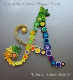 Quilled letter A in multi-colors