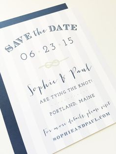 Nautical Save the Date  Tie the Knot Stripes Cape by DHFitzgerald