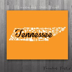 Knoxville Tennessee Landmark State Giclée Print by PaintedPost, $15.00 #paintedpoststudio - University of Tennessee - UT - Volunteers and Lady Vols- What a great and memorable gift for graduation, sorority, hostess, and best friend gifts! Also perfect for dorm decor! :)