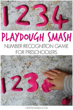 This easy to set up number recognition activity is perfect for preschoolers who love hands on fun! Plus ideas on how to extend this activity. Number Games For Toddlers, Number Games Preschool, Teaching Numbers, Numbers For Kids, Math Numbers, Preschool Learning, Toddler Games, Preschool Class, Preschool Curriculum