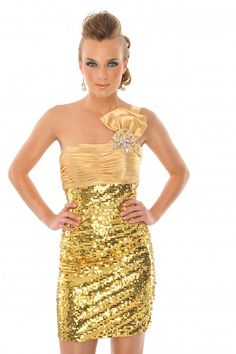 @Precious Formals H55037 One-shoulder gold beaded #Cocktail #Prom #Homecoming #Dresses #IPAProm #Prom360