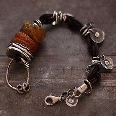 natural Baltic amber bracelet sterling silver by ewalompe~<3