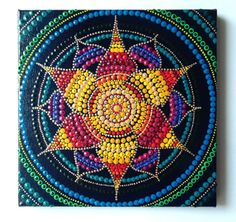 Original hand painted lotus mandala, 25 x 25 cm, texture, 3D, golden details, intuitive art, dot painting, vedic art unique acrylic by InwardArt on Etsy