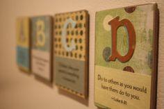 ABC scripture magnets. Cool idea!