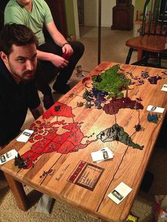 Risk board carved into a coffee table.