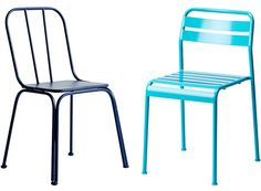 Colorful chairs for the terrace or garden. Blue metal chair, Nordal. Turquoise Roxö metal chair, Ikea.
