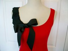 Embellished Red Tank Top with Black Ruffles and by RaspberryMarket, $32.00