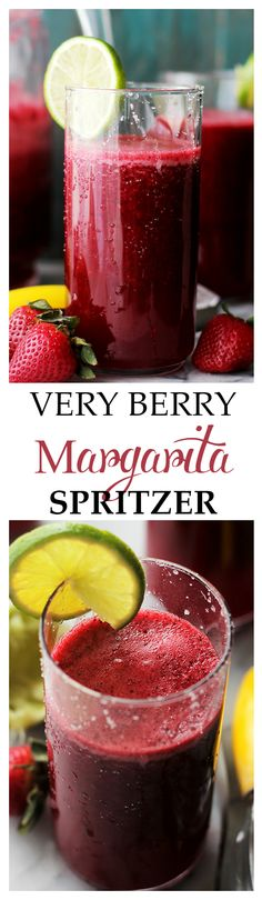 Very Berry Margarita Spritzer - A refreshing and delicious twist on the classic Margarita made with fresh berries, daiquiri mix and seltzer water. This is the perfect drink for parties and/or gatherings. Get the recipe on diethood.com