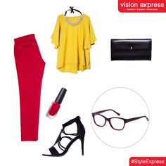 These bold red & black frames with grey combat highlights are perfect for a semi-casual Friday office look.  Model -VX GV SENSAYA SEN41 C03 www.visionexpress.in