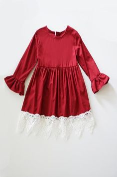 4697c7d57 Burgundy Lace Ruffle Dress for girls CXQ-400278 by Honeydewusa.com Lace  Ruffle,