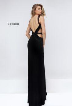 2016 Long Glamour Sherri Hill 50163 Black Open Back Prom Dress