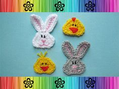 Bunny and Chick Applique  CROCHET PATTERN by EverLaughter on Etsy, $3.95