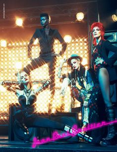 Jean Paul Gaultier ad image featuring pop icons Madonna, Grace Jones, Boy George and David Bowie.