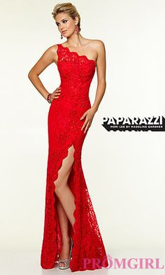 One Shoulder Floor Length Lace Dress by Mori Lee at PromGirl.com